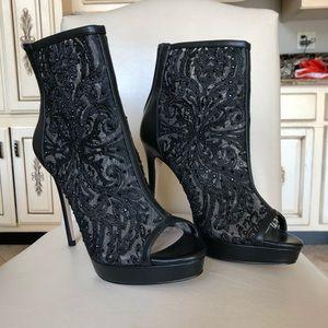 Black lace heels
